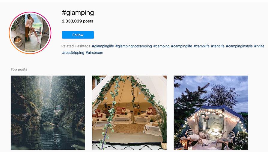 glamping on instagram